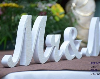 White Glitter Mr and Mrs Wedding Signs, Mr & Mrs Wood Wedding Decoration, Glitter, Mr and Mrs Wedding Photo Prop, Glitter Mr and Mrs