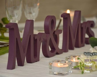 Glitter Dust Silver Mr and Mrs, Wall Decorations, Plum Sign Mr & Mrs,