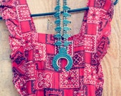 70s XS/S Bandana print maxi dress / red black and white A line sleeveless ruffles ruffled x back cross back / western southwestern cowboy