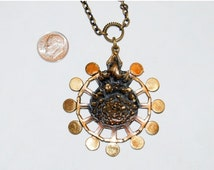 Super Sale Vintage Pentti Sarpaneva Modern Brutalist Finland Starburst Bronze Pendant Necklace Modern