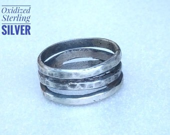 Oxidized Sterling Ring, Sterling Silver Ring, Sterling Ring Band, Triple Wrap Ring, Size 8 Silver Ring, Rustic Silver Ring.