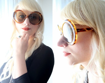 Vintage 1960s Italian oversized round circle tortoise shell brown sunglasses glasses made in Italy Jackie O mod twiggy