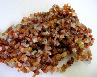 Gemstone Bead Chips, Carnelian , 36 Inch Stands, Chip Beads, Gem Trees, Make All Kind of Beading Projects, Chakra, Reiki, Wire Wrapping
