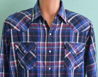 80s Plaid Western Ely Cattleman Pearl Snap Button Down Shirt Large Blue  Plaid Rockabilly Rodeo Rockstar