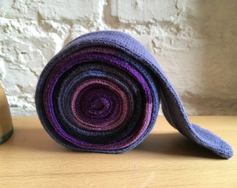 Simple stripe colour block soft cotton knitted skinny tie lavender cornflower and navy
