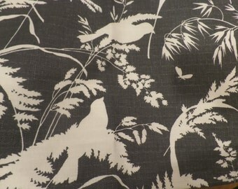 Handmade Window Valance Lined - Kitchen Window Curtain -Gray and White Birds and Floral Silhouette Print