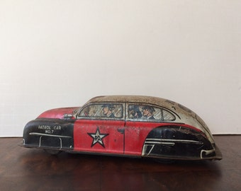 Vintage Lupor Police Patrol Car Litho Tin Toy Car No. 7 Wind-Up Toy