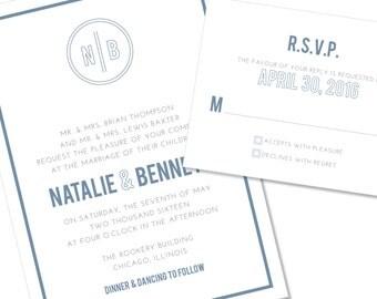 Bold Wedding Invitation | Monogram Wedding Invitation | DIY Option Available | Invitation | RSVP | Info Card #139