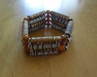 Acrylic and Rubberized Multi-Colored Tube Bracelet