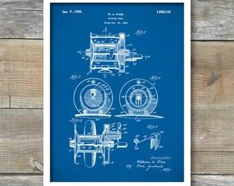 Patent Print, Fishing Reel Poster, Fishing Reel Patent, Fishing Reel Print, Fishing Art, Fishing Reel Decor, Fishing Reel Blueprint P309