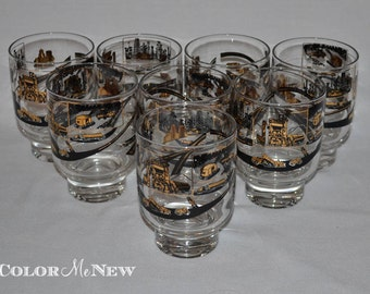 Set of 8 Construction/Industrial Themed Old Fashioned Footed Lowball Glasses - Vintage Gold and Black