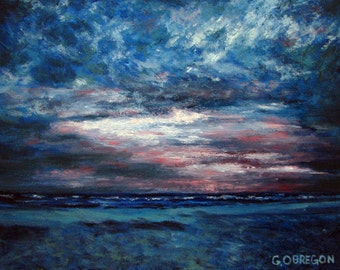 Evening Fades - Landscape, Oil Painting, Impressionism