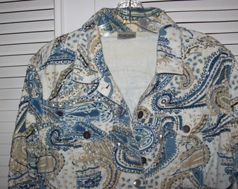 Vintage Fanciful Jean Jacket - Sequins Bugle Beads, Turquoise  by Chico Size Large