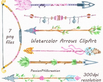 Watercolor Arrows Clip art, Tribal arrows, Handpainted clipart, PNG, diy greeting card, wedding clipart, for Personal and Commercial Use