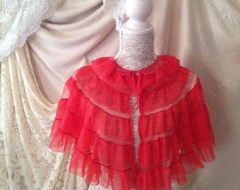 1960s Burlesque red ruffles bed jacket cape