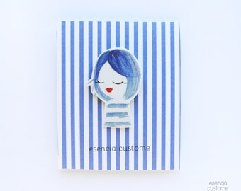 "Illustrated brooch ""Cécile"""
