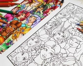 Cute Girls Faces Coloring Page PDF - Digital Adult Coloring Page, Printable Line Art, Girls Faces to Color, Coloring Therapy