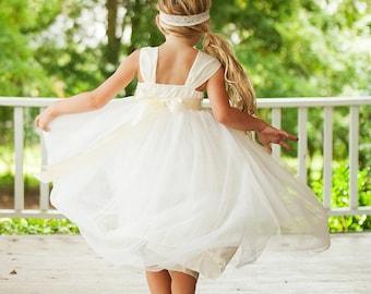 Flower Girl Tutu Dress, Ivory Tutu Flower Girl Dresses, Tutu Tulle Dresses, French Flower Girl Tutu Dress