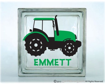 personalized tractor decorated glass block vinyl decal kids farm piggy bank decal