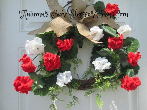 Red Geranium Wreath Spring Door Wreath By Autumnsechoshoppe