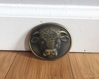 Solid Brass Bull Belt Buckle 1976