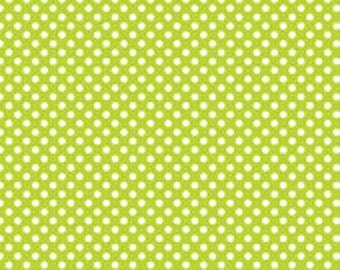 Lime small dot Riley Blake Designs lime green polka dot by the yard