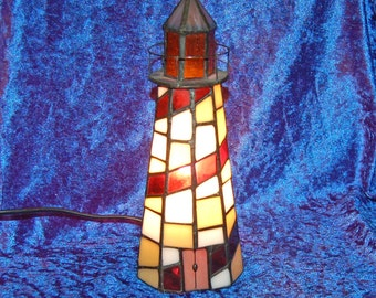 Quality Tiffany Style Lighthouse Table Lamp