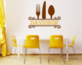 Custom Wall Decal Scroll work with silverware Indoor Vinyl Wall Decal animals two by two Bedroom Headboard