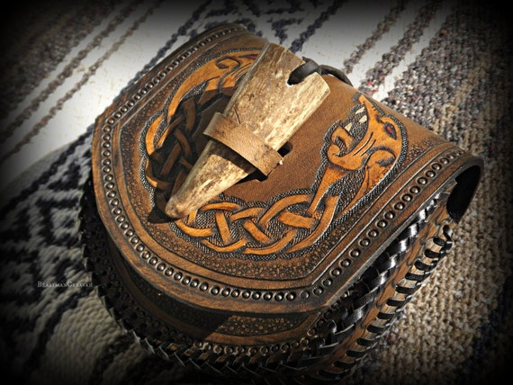 Custom Viking Leather Belt Pouch with Antler Tip Toggle and Celtic / Viking Wolf Design