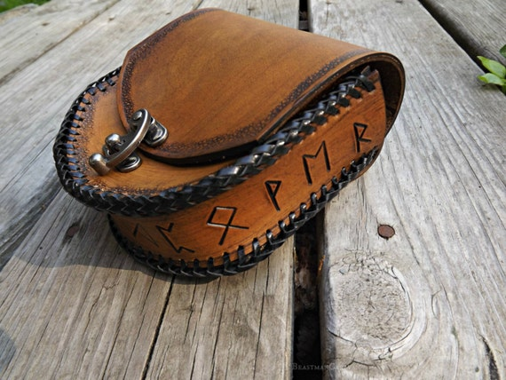 Viking Leather Belt Pouch - Elder Futhark Runes - Festival Bushcraft Possibilities Bag