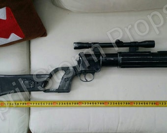 Boba Fett EE-3 1:1 scale blaster replica prop from Star Wars ROTJ. Mandalorian weapon of choice for cosplay or collection.