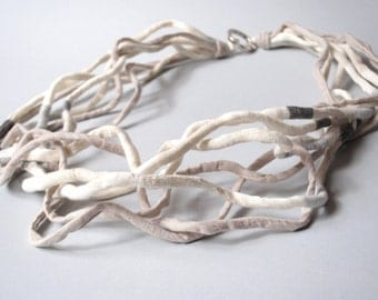 Statement Necklace Modern Textile Jewelry SAND Necklace Fiber Jewelry Modern Jewelry Multi Strand Necklace Fiber Art Contemporary Jewelry