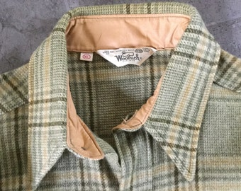 Vintage 70s Woolrich gold green button front jacket shirt coat