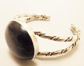 Sterling Silver Blue Gemstone Cuff Bracelet
