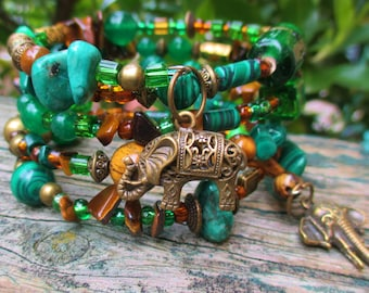 Green beaded bracelet memory wire wrap gemstones malachite jade tigers eye with bronze elephant charms womens mens gift