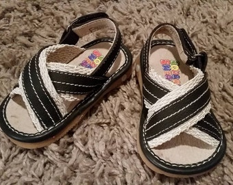 Brown & Cream Squeaky Sandals