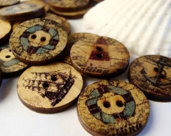 100 Nautical Wood Buttons,18mm,Ship,Lighthouse,Anchor,Buttons,Craft Buttons,Sea Buttons,Ocean Buttons,Beach Buttons,