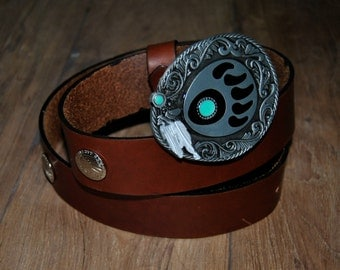Leather belt handmade. belt