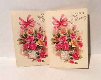 Vintage 1960s 'Get Well' Floral 'To Speed Your Recovery' MCM Greeting Cards