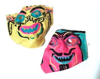 Vintage 1930s/1940s Set of 2 Halloween Gauze Linen Demon? Children's Masks,