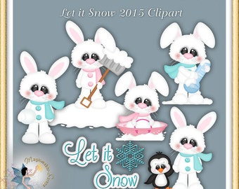 Winter Clipart, Bunny, Let it Snow 2015