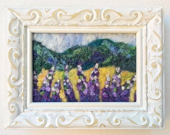 """Wool Needle Felted Painting~""""Maine Lupine Field"""""""