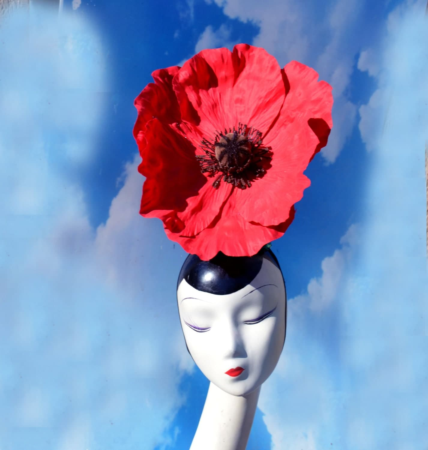 red poppy flower costume headpiece remembrance day military