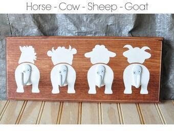 Barnyard Animals Butt Hooks - Horse, Cow, Sheep, Goat