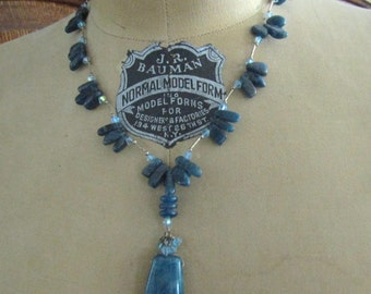 """Blue ~ Appetite ~ Necklace ~ Hand made ~ Artisan ~ Crystal accents ~ Awesome ~ 20"""" Necklace ~  1"""" Pendant"""