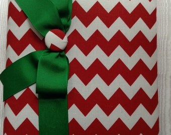 Christmas Photo Album - Red and White Chevron Fabric with Green Bow and Covered Button. Christmas Memories in a Specialty Photo Album