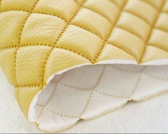 Quilted Faux Leather Fabric Mustard