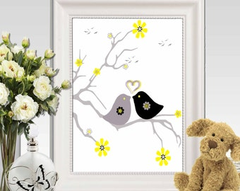 Yellow and gray Nursery decor printable Large Bird decor Nursery birds art Love birds print Bird wall art Birds in tree DIGITAL DOWNLOAD