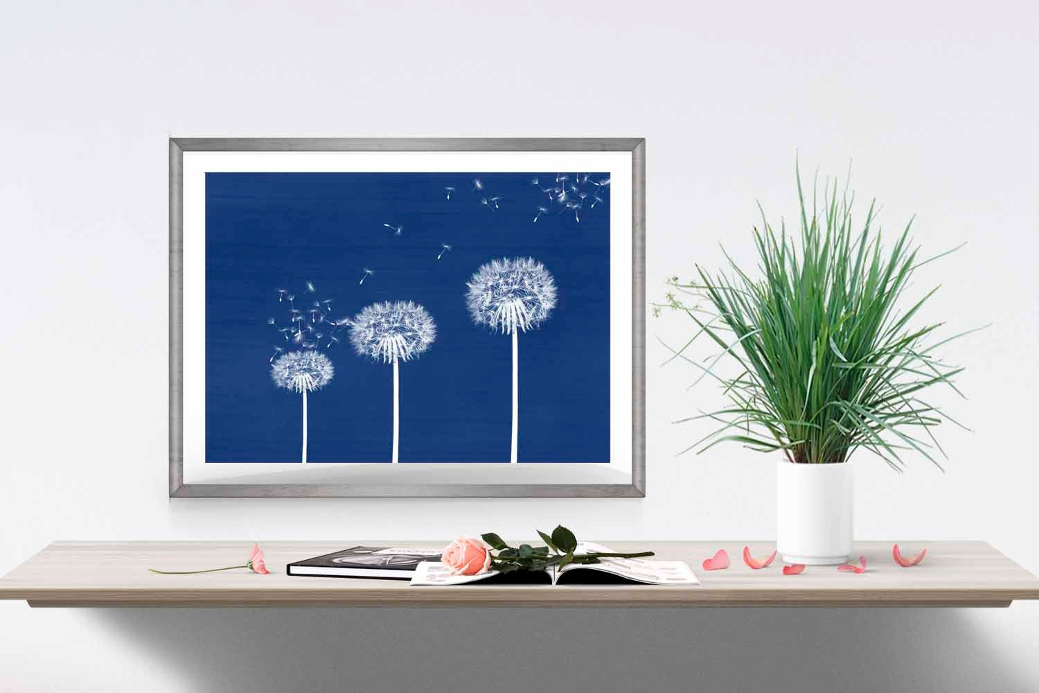 blue dandelion print navy home decor dandelion wall art flower