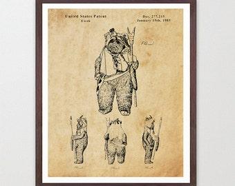 Star Wars - Ewok - Star Wars Patent - Star Wars Poster - Star Wars Art - Ewok Patent - Star Wars Wall Art - Ewok Art - Ewok Poster - Sci Fi